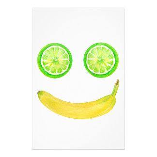 Papeterie Visage de smiley de fruit d'aquarelle