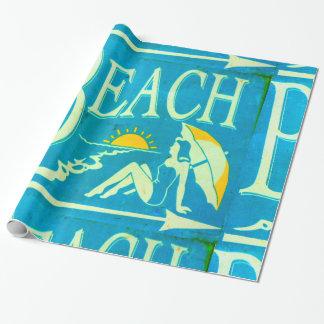 papier bleu de plage papier cadeau