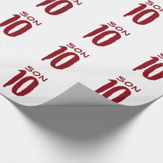 Papier Cadeau 10ème Anniversaire pour un fils, texte rouge sur