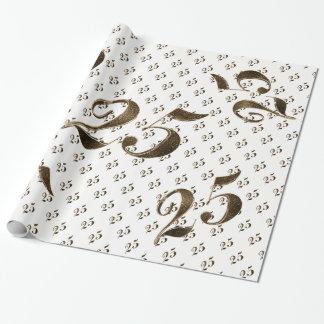 Papier Cadeau 25ème Typographie d'anniversaire de noces d'argent