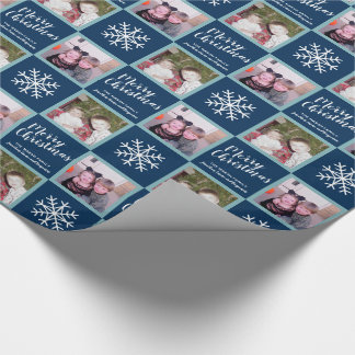 Papier Cadeau 2 photo - flocons de neige de Joyeux Noël de bleu