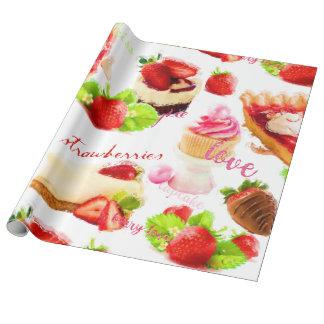 Papier Cadeau Amour de bonbons à fraise d'aquarelle