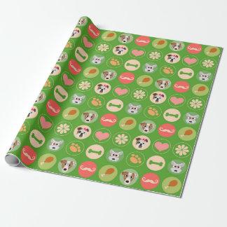 Papier Cadeau Amour de chien sur le vert