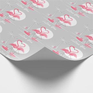 Papier Cadeau Amour de flamant je t'aime le papier d'emballage
