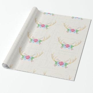 Papier Cadeau Andouillers rustiques de cerfs communs d'aquarelle