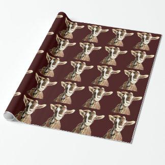 Papier Cadeau Animal de ferme de chèvre d'aquarelle