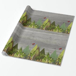 Papier Cadeau Animal en bois blanc rustique de forêt