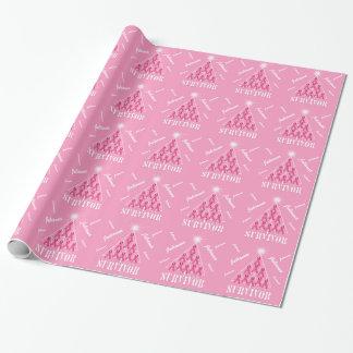 Papier Cadeau Arbre de Noël dans les rubans roses avec le nom