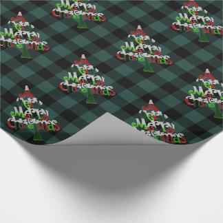 Papier Cadeau Arbre vert rustique de Joyeux Noël de plaid de