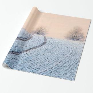 Papier Cadeau Arbres pittoresques de paysage d'hiver avec le