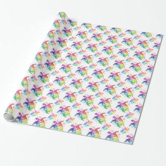 Papier Cadeau Arc-en-ciel tribal de tortue