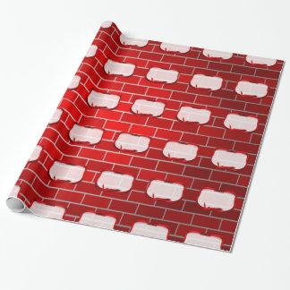 Papier Cadeau Arrière - plan de brique rouge avec l'étiquette