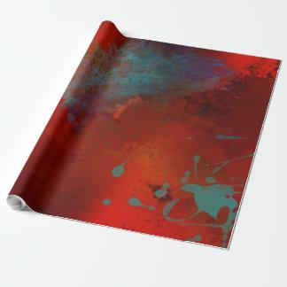Papier Cadeau Art abstrait grunge de Digitals de rouge, d'Aqua