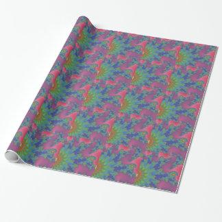 Papier Cadeau Art de fractale coloré par arc-en-ciel super