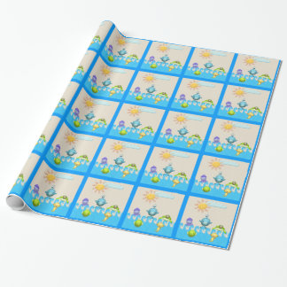 Papier Cadeau Baby shower mignon d'animaux de mer