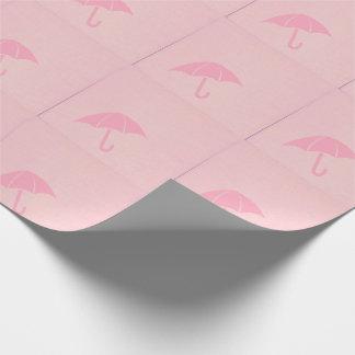Papier Cadeau Baby shower rose de parapluie