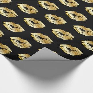 Papier Cadeau Baisers d'or sur le papier d'emballage noir