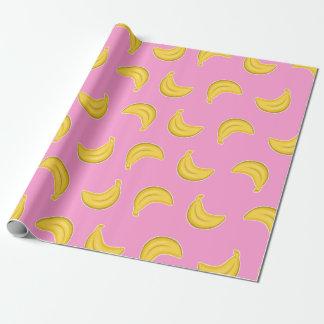 Papier Cadeau Bananes allantes dans le rose