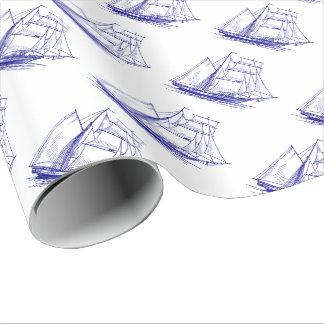 Papier Cadeau bateau bleu de bateau à voile de papier
