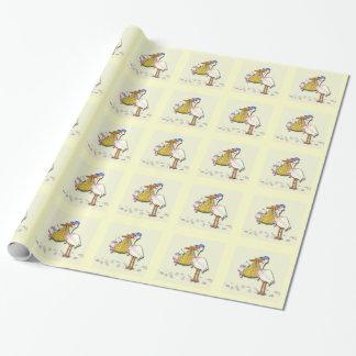 Papier Cadeau Bébé de concepteur de la livraison de cigogne