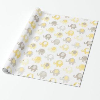 Papier Cadeau Bel éléphant de jaune de bébé