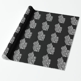 Papier Cadeau Black and White Cat Swirl abstrait monochrome
