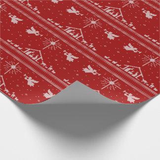 Papier Cadeau Blanc rouge de Noël chrétien de scène de nativité