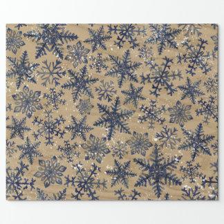 Papier Cadeau Bleu et motif rustique de flocon de neige