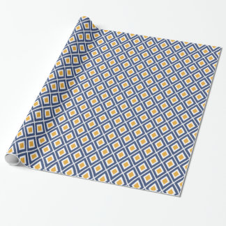 Papier Cadeau Bleu marine moderne et motif jaune d'Ikat de