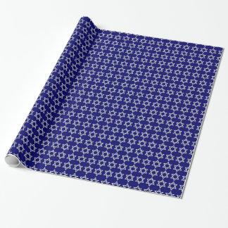 Papier Cadeau Bleu Motif-Foncé d'étoile de David