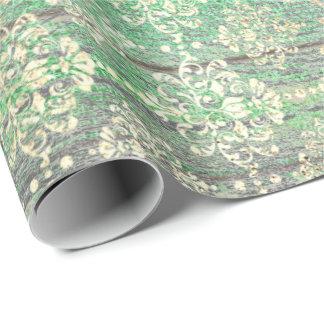 Papier Cadeau Bois plus pouilleux métallique d'or de vert vert