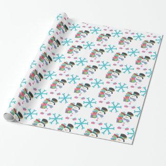 Papier Cadeau Bonhomme de neige avec l'enveloppe de cadeau de