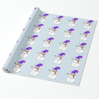 Papier Cadeau Bonhomme de neige heureux
