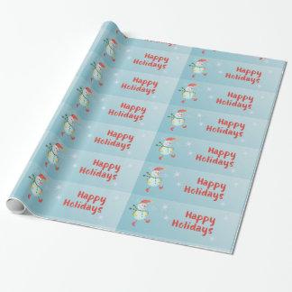 Papier Cadeau Bonhomme de neige heureux de vacances