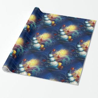 Papier Cadeau Bonhomme de neige mignon avec les cadeaux et le
