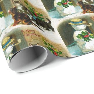 Papier Cadeau Bonhomme de neige vintage de Noël et enveloppe de