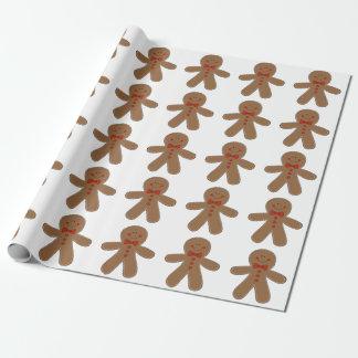 Papier Cadeau Bonhomme en pain d'épice portant une cravatte