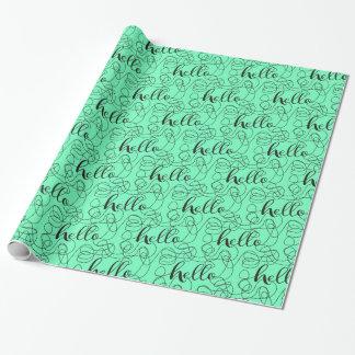 Papier Cadeau BONJOUR motif sans couture de noir avec des LIGNES