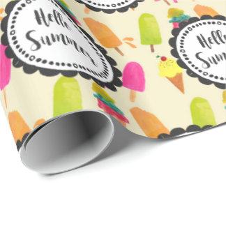 Papier Cadeau Bonjour Popsicles d'été et crème glacée