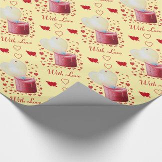 Papier Cadeau bougie rouge de flamme en forme de coeur peignant
