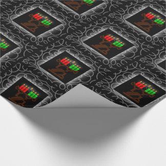 Papier Cadeau Bougies de Kinara de Lit de Kwanzaa avec le noir
