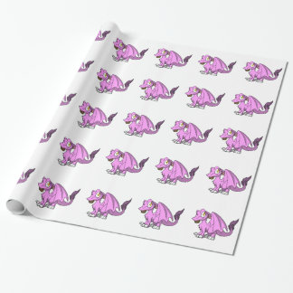 Papier Cadeau Bubblegum/dragon velu rose d'écart-type avec le