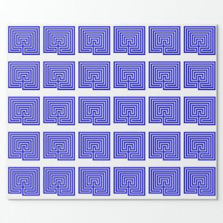 Papier Cadeau Cadeau avec un labyrinthe bleu - papier
