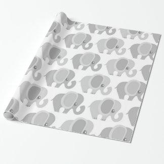Papier Cadeau Cadeau gris neutre de douche d'éléphant de bébé