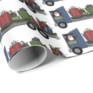 Papier Cadeau Camion de Père Noël de Noël conduisant l'enveloppe