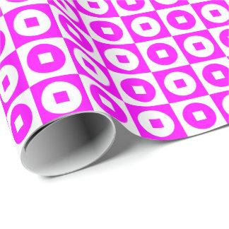 Papier Cadeau Carré-Cercle rose/blanc personnalisable