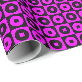 Papier Cadeau Carré-Cercle rose/noir personnalisable