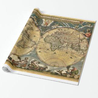 Papier Cadeau Carte antique J. Blaeu 1664 du monde