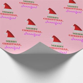 """Papier Cadeau Casquette rouge de Noël de Père Noël, """"JOYEUX NOËL"""