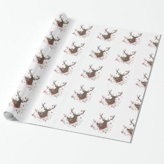 Papier Cadeau cerfs communs et flocons de neige rustiques